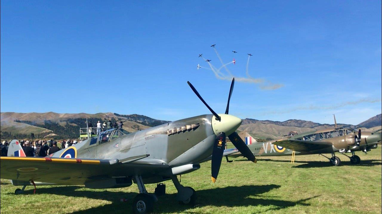 Spitfire and Anson on static